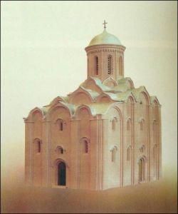 Makieta obrazująca wygląd cerkwi Spasa w XII wieku.