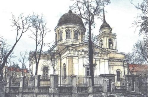 Cerkiew św. Mikołaja Cudotwórcy z 1846 roku - rycina XIX wieku