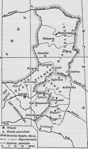 Granice departamentu białostockiego (do 1807 roku) i obwodu białostockiego (lata 1807-1842)