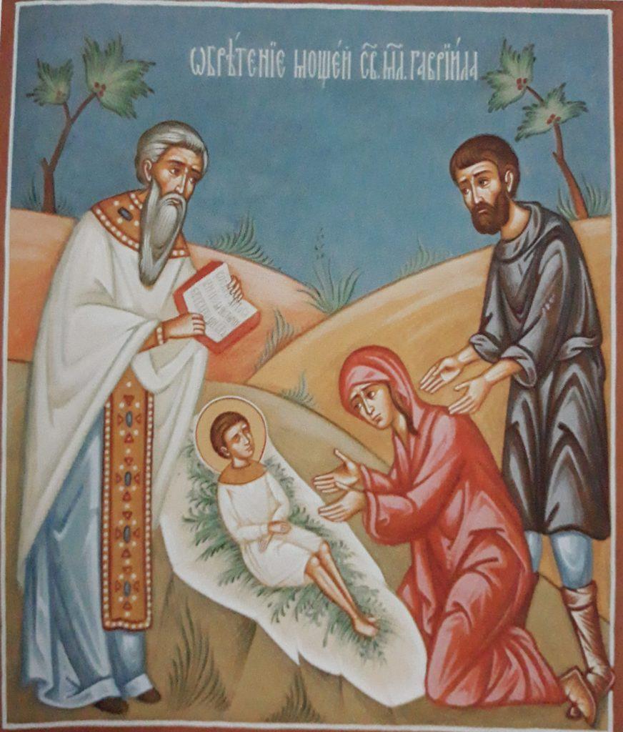 Odnalezienie przez rodziców ciała świętego, porzuconego na skraju lasu obok wsi Zwierki: fresk z cerkwi św. Gabriela w Zwierkach