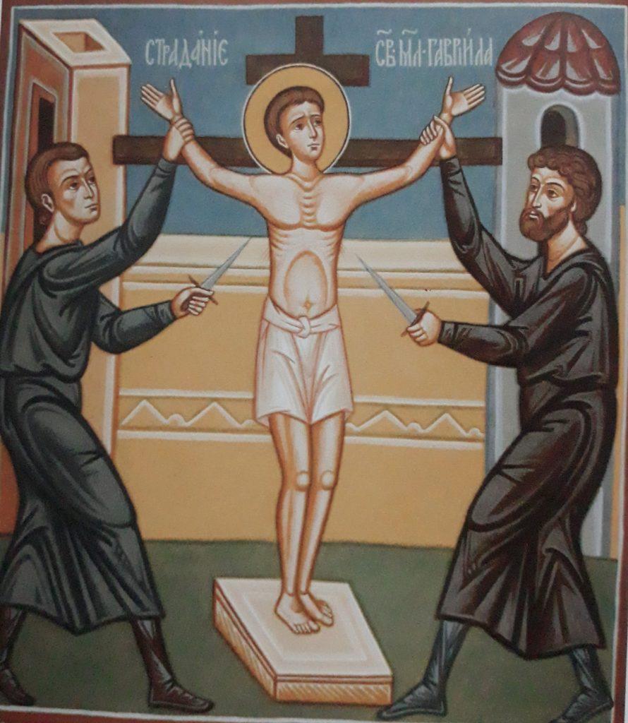 Męczeńska śmierć świętego Gabriela: fresk z cerkwi św. Gabriela w Zwierkach