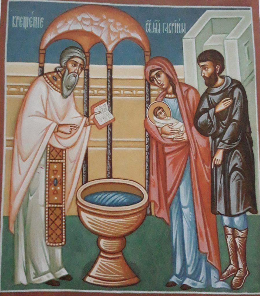 Chrzest świętego Gabriela w zabłudowskiej cerkwi: fresk z cerkwi św. Gabriela w Zwierkach