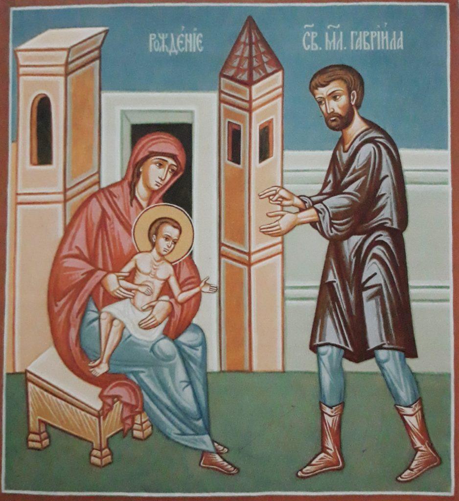 Narodziny świętego Gabriela: fresk z cerkwi św. Gabriela w Zwierkach