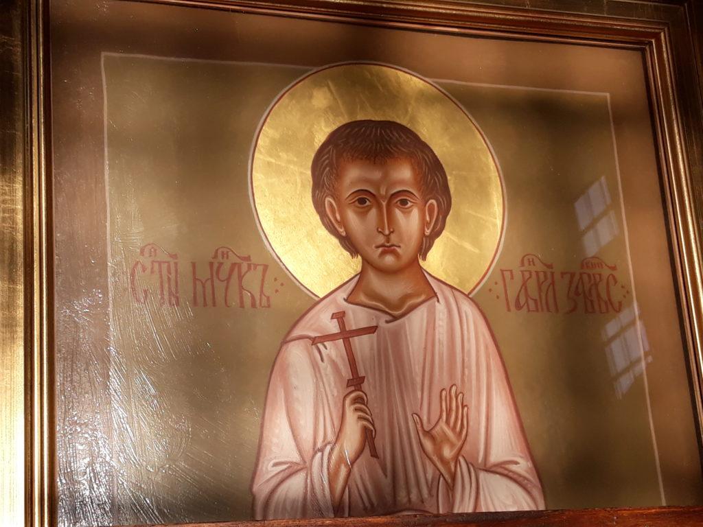 Ikona świętego męczennika znajdująca się za relikwiami świętego w białostockiej Katedrze. fot. Paweł Iwaniuk